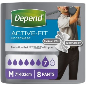 Depend Active-Fit Underwear For Men | Medium | Pack of 8