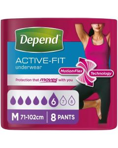 Depend Active-Fit Underwear For Women | Medium | Pack of 8