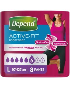Depend Active-Fit Underwear For Women | Large | Pack of 8