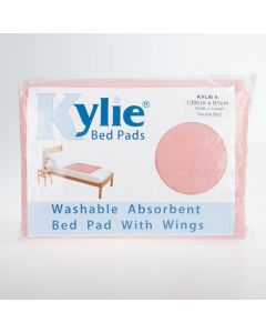 Kylie Washable Double Bed Pad with Wings | 4000mls | 139x91cm | Pink