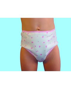 Girls Incontinence Pants Padded - 215ml - Hearts Pattern - 2-10yrs - 7-8yrs